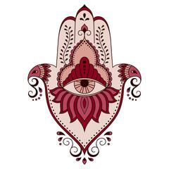 Color vector hamsa hand drawn symbol. Decorative pattern in oriental style.