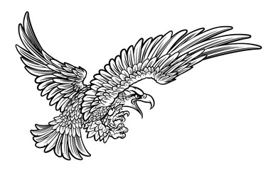 Eagle Swooping from the Side