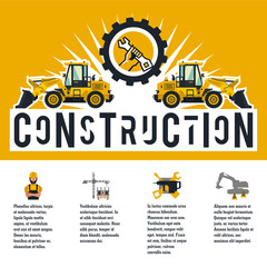 Vector illustration on the theme of a construction site. Icons of tools, equipment, worker, technology. Template for text. Banner with the production of information. Advertising company. Flat style
