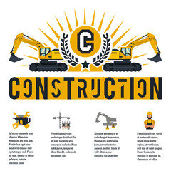 Vector illustration on the theme of a construction site. Icons and template for text. Excavators and logo. Banner with the production of information. Advertising company. Flat style