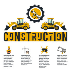 Vector illustration on the theme of a construction site. Icons and template for text. Loader logo and hands holding a wrench. Banner with the production of information. Advertising company. Flat style