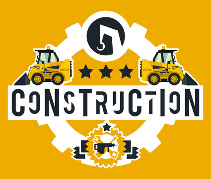 Illustration on the theme of the construction works. Construction machinery. Special equipment. Lettering on the isolated background. Mini loader. Logo working tools. Flat style
