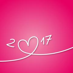 2017 - Carte de vœux - amour - Coeur