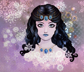 Blue haired girl with snowflakes