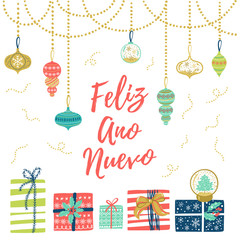 Feliz Ano Nuevo hand lettering Christmas and New Year holiday calligraphy on Spanish. Vector winter holiday background with hand lettering calligraphy, confetti, balls, garland elements.