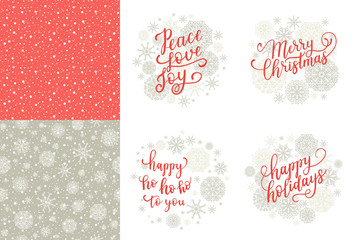 Merry Christmas, Happy Holidays, Happy ho to you, Peace Love Joy greeting cards set for New Year 2017. Vector winter holiday background with hand lettering calligraphy, snowflakes, falling snow.
