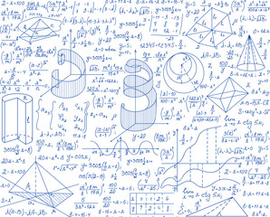 Math vector seamless pattern with geometrical plots, formulas and calculations, handwritten with ink pen on white paper. Education colorful endless texture. You can use any color of background