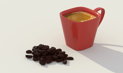 a drink made from the roasted and ground beanlike seeds of a tropical shrub, served hot or iced. 3d rendering