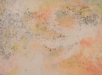 Warm colored abstract art background . Oil and acrylic on palette. Rough brushstrokes of paint. Thin textures.