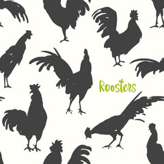 Seamless pattern with silhouette of cock in different poses. Sketch style. Vector illustration. Roosters in black, green and white colors. Brush drawings.