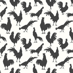 Seamless pattern with silhouette of cock in different poses. Sketch style. Vector illustration black and white roosters. Brush drawings.