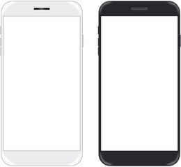 Smartphone in black and white color with blank screen