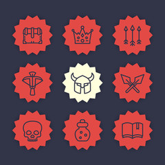 Game line icons set 2, RPG, crossbow, chest, arrows, crown, potion, medieval, fantasy items