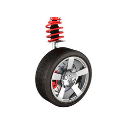 suspension of the car with wheel perspective view without shadow