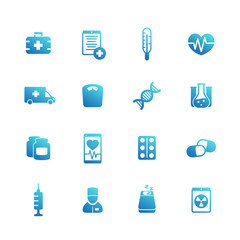 medicine icons on white, vaccination, injection, health care, ambulance, hospital, pills, drugs pictograms set