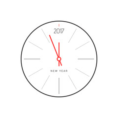 New Year countdown 2017. Abstract clock on white. Minimalist style