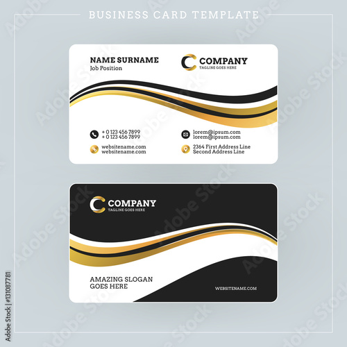 Double-sided Business Card Template with Abstract Golden and Black ...