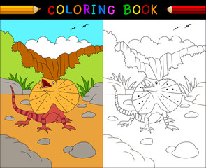Cartoon frilled lizard coloring book, Australian animals series