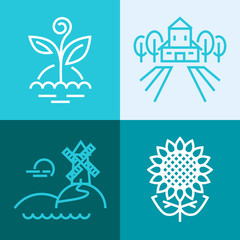 Outline vector set of farm elements and ecology. Plant, farm, windmill and sunflower logos.