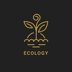 Ecology logo. Vector outline icon of golden plant with sun.