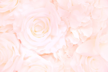 Decoration artificial Pink roses flower bouquet as a floral background with soft focus and copy space.