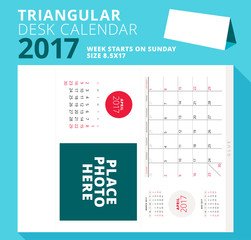 Triangular desk calendar planner for 2017 year. April 2017. Week starts on Sunday. Printable stationery template with place for photo. Vector illustration
