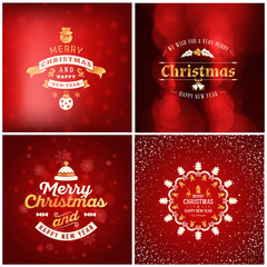 Set of Christmas golden and red greeting card templates. Vintage typographic badges, labels. Christmas snowflakes background. Vector Illustration