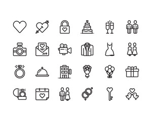 Love and Wedding outline icon set