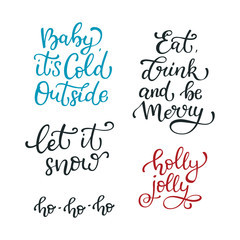 Set of hand drawn winter vector quotes