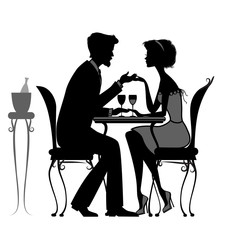 young couple in love sitting  in a cafe. black and white silhoue