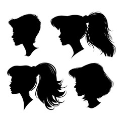 four different young girl silhouette. vector illustration