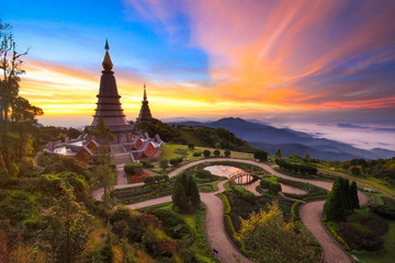 Twin pagoda in doi Inthanon national park with sunrise and morni