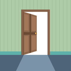 Flat style illustration of open door