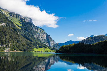 Mountain lake Klontalersee. Glarus Canton.  Switzerland.