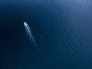 Aerial view of boat in the ocean
