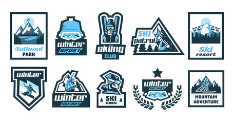 Set logos, stickers, posters on the theme of skiing, winter holidays, extreme sports, snowboard. Isolated objects on the background. Mountain, forest, river, eagle, sun, skier, glasses, jacket, hat.
