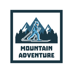 Logo mountain adventure. Label, stamp. Winter landscape, snow-capped mountains, the forest, the skier walking in the snow. Sports lifestyle. Vector illustration