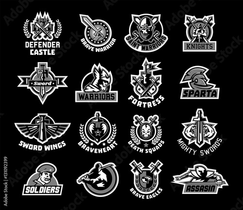 Set of logos on the sword and warrior. Black and white color sticker ...