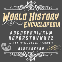 Script Font Typeface World History Encyclopedia vintage script font Vector typeface for labels and any type designs