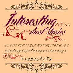 Script Font Typeface ?nteresting short stories vintage script font Vector typeface for labels and any type designs