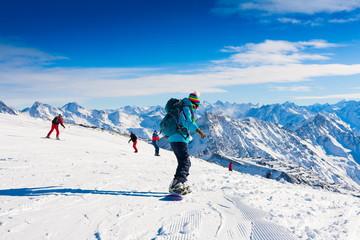 Woman, snowboard winter, rides
