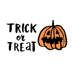 "Vector hand-drawn card with elements: inscription ""trick or treat""and character pumpkin. It can be used for invitation cards, brochures, poster, t-shirts, mugs, wrapping paper etc."