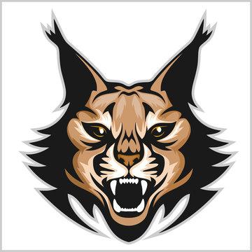 Lynx mascot logo. Head of lynxes isolated vector illustration.