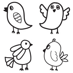 Set of Bird hand drawn. vector illustration design.