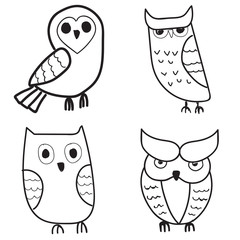 Set of cute hand drawn owls.