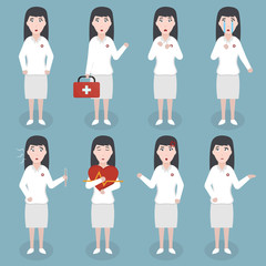 Collection of vector cartoon doctor woman character in various emotions and situations. Concept of healthcare and medical science.
