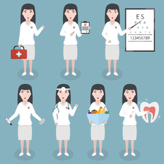 Collection of vector cartoon doctor woman character in various specialty and situations. Concept of healthcare and medical science.