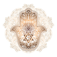 Elegant hand drawn Isolated traditional Jewish sacred amulet and religious symbols - Hamsa or hand of Miriam, palm of David, star of David, Rosh Hashanah, Hanukkah, Shana Tova