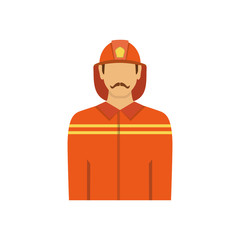 Illustration of fireman isolated on white background in flat sty