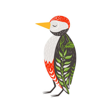 Woodpecker Relaxed Cartoon Wild Animal With Closed Eyes Decorated With Boho Hipster Style Floral Motives And Patterns
